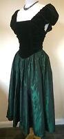 """Vintage Laura Ashley UK 12 36"""" bust black velvet/green satin Ball Gown dress"""