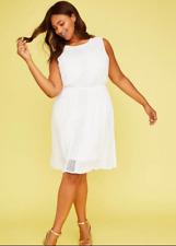 573ca3ec85b4 New LANE BRYANT $80 Crochet Fit & Flare Dress in White Plus 18/20 2X