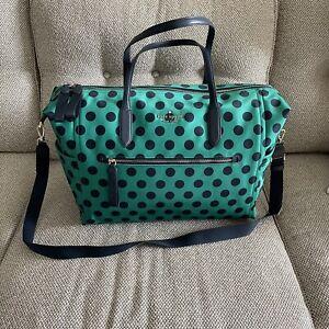 Kate Spade Chelsea Delightful Dot Large Nylon Weekender Travel Bag Navy/GRN NEW