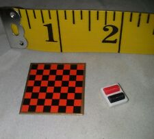 Tomy Dollhouse Vintage Checkerboard Game Board With Checkers 1:16 Scal  Furnitur