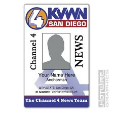 PERSONALISED Printed Novelty ID- ANCHORMAN Channel 4 KVWN (Funny TV Card Prop)
