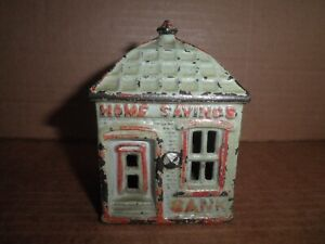 Wonderful old original cast iron Home Savings with Finial, J. & E. Stevens c1891