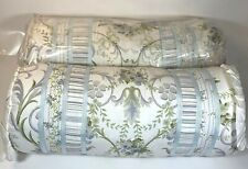 Vintage Neckroll Pillows 2 Pcs Set - Green and Blue Floral