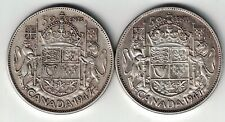 2 X CANADA FIFTY CENTS HALF DOLLAR KING GEORGE VI SILVER COIN 1947 S7 1947 C7