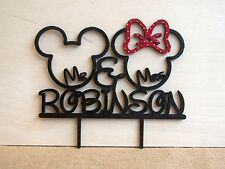 Disney wedding, Mickey & Minnie rustic wedding cake topper, wedding cake topper