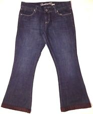 American Eagle size 10 Real Flare denim dark blue jeans pants brown cuff added