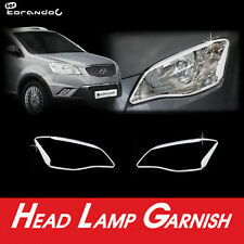 Chrome Head Light Lamp Trim Molding Garnish Cover For 11 12 Ssangyong Korando C