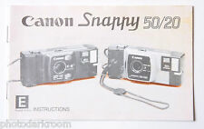 Canon Snappy 50/20 35mm Film Camera Manual Instruction Book - English - USED B9