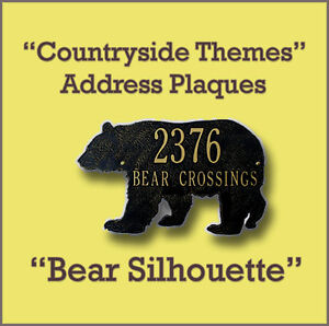 Whitehall Bear Silhouette Address Marker Personalized Plaque - 17 Colors No Rust