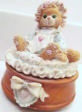 "Enesco Calico Kittens ""Just Thinking About You"" 1992 P Hillman Music Box- 620742"