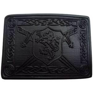 SL Highland Kilt Belt Buckle Saltire Lion Rampant/Lion Rampant Belt Buckle Black