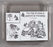 Stampin Up Chill of Winter FOAM MOUNT Rubber Stamp Set - Christmas, Friendship