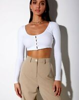 MOTEL ROCKS Ineke Crop Top in Ribbed White    (MR62)