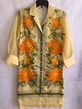 Vintage Shirt Dress Yellow Orange Peonies Floral Sheer Sleeves Alfred Shaheen