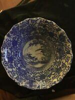 Antique Chinese Blue Transferware Bowl Birds In Flight  Fu Dog Border