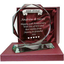 30th Pearl Wedding Anniversary Pewter Feature Engraved Glass Gift 30 Years Gifts