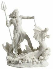 Poseidon Standing On Hippocampus w/ Trident White Statue Figurine Sculpture