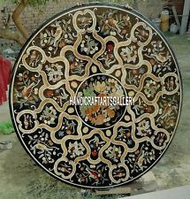 "30"" Black Marble Coffee Table Top Carnelian Inlay Jasper Outdoor Decor H3119"