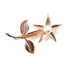 Rose Gold White Pearl Flower Leaf Hair Clip Bridesmaid Bridal Headpiece Vtg 418