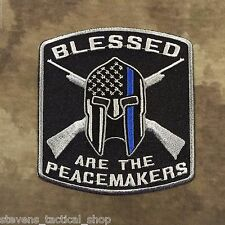 Blessed are the Peacemakers Thin Blue Line Spartan Patch for Law Enforcement
