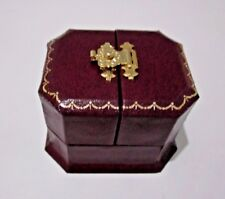 Antique Style Burgundy Leatherette 2 door Ring Gift Box-Gold Clasp & Trim-AJ26