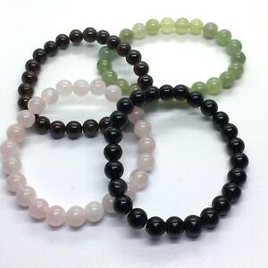 Crystal 8 mm Bead Bracelets Obsidian, New Jade, Rose Quartz, Garnet & More.