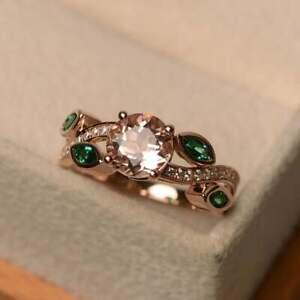 1.25CT Morganite & Emerald Leaf Engagement Ring 14K Rose Gold Over