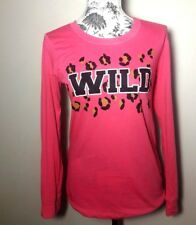 "Joe Boxer Pajama Top Pink  Women's Size Small ""WILD"" & LEOPARD PRINT"" Graphic"
