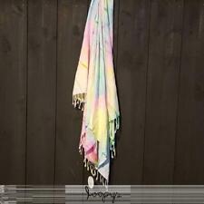 Loopys premium Festival Rainbow Tie Dye Turkish Beach Towel Travel Throw