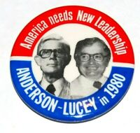 JOHN ANDERSON PATRICK LUCEY campaign pin pinback button political presidential