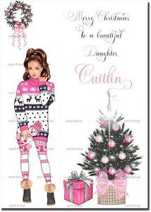 Handmade Personalised Christmas Card Niece Grand Daughter Sister Cousin