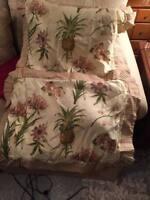 Pair of Waverly Boca Botanical Yellow Queen Pillow Shams