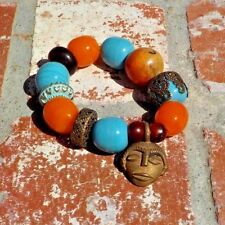 GLASS BRASS CORAL AMBER RESIN BRACELET TRIBAL BELLY DANCE BOHO FREE SHIPPING
