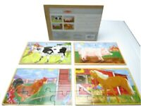 Melissa & Doug Farm Animal Puzzle in a Box 4 Puzzles in One Wooden Jigsaw