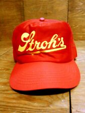 Vintage Stroh's Red Yellow & Green Mesh Snap Back Truckers Hat USA Buy American