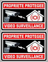 2 X VIDEO SURVEILLANCE PROPRIETE ALARME CAMERA 10cm AUTOCOLLANT STICKER (VA050)