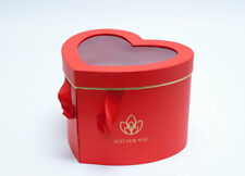 Red Heart Shape Flower Box with Window Lid (Two-Layers) , Floral Paper Gift Box
