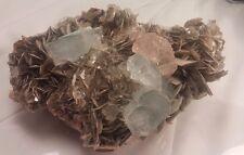 PINK FLUORITE & SKY BLUE AQUAMARINE crystals on Muscovite specimen * Pakistan