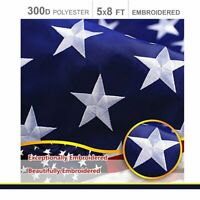 5'x8' ft, American Flag US USA   EMBROIDERED Stars, Sewn Stripes, Brass Grommets