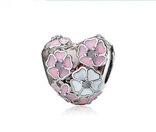 new Pink Flower Heart Shaped Charms Bead Fit European Charm Bracelet & Necklace