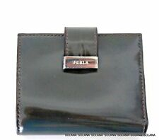 Furla Patent Leather Bifold Wallet Credit Card Holder Silver Hardware Gift Box