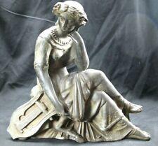 Large Antique Ansonia Statue Roman Lady Lyre ~ Harp Mantle Clock Topper
