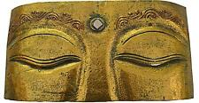 NEW BALI WOODEN WALL HANGING BUDDHA EYES PLAQUE GOLD STAINED HINDU 30*15CM