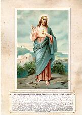 RELIGIONE VECCHIA STAMPA SOLENNE CONSACRAZIONE FAMIGLIA AL SACRO CUORE DI GESU