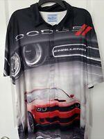 David Carey Originals Dodge Challenger Button Shirt Sz L 2 Side Graphics