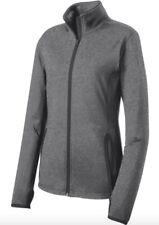 NWT Sport Tek Ladies Medium Sport Wick Stretch Contrast Full Zip Jacket Gray
