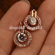 18K Rose Gold Filled Hypo-Allergenic Double Hoop Crystal Stud Earrings HG4