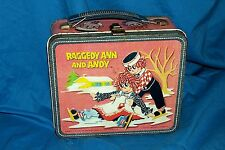Vintage 1973 Raggedy Ann and Andy Metal Lunchbox Old Kid's School Lunch Pail 70s