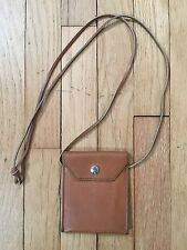 "Brown Small Genuine Leather Crossbody Bag Purse with Snap Handmade 4 3/4"" x 4"""