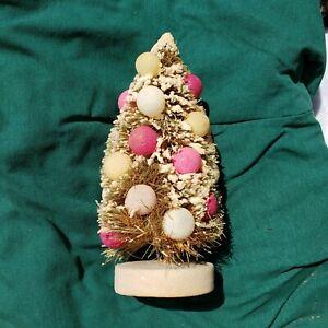 "9"" Bottle Brush Vintage Flocked Christmas Tree With  Christmas Balls Decorations"